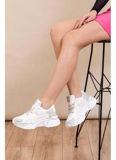 Tonny Black Beyaz Gri Bayan Spor Ayakkabı Dnz  Beyaz